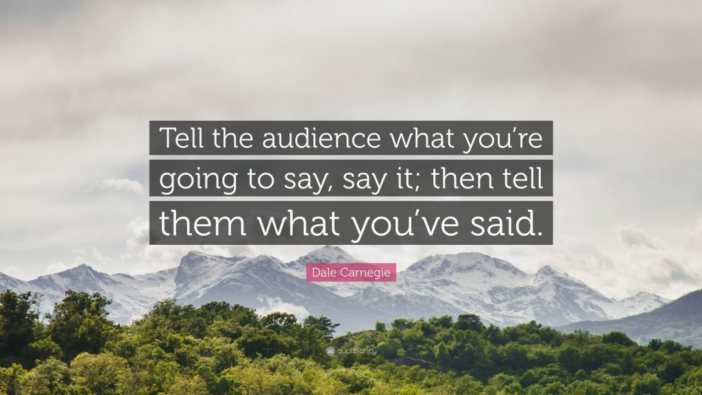 Tell the audience